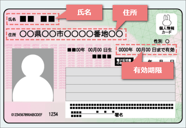 XMで有効な住所確認書の例1:マイナンバーカード