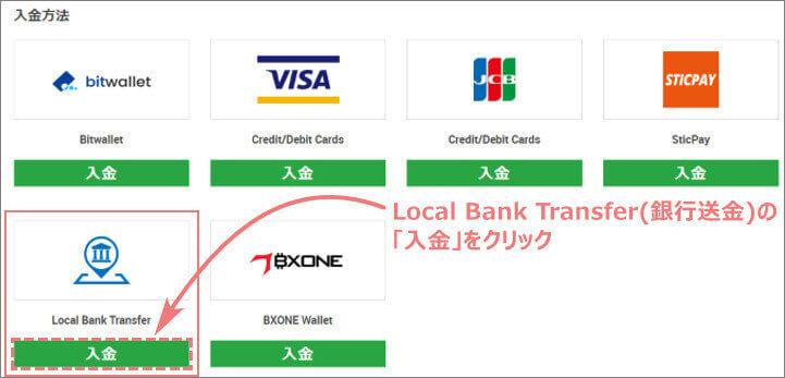 XMへ銀行送金で入金するボタンをクリックする