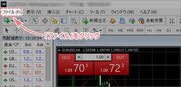 MT4画面上部にあるファイルボタン