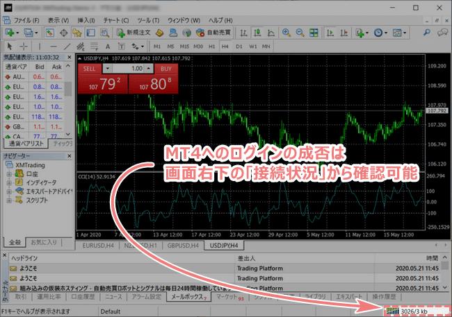 MT4へのログインの成否は画面右下の卒族状況から確認