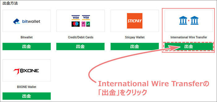 XMの出金方法からInternational Wire Transfer(海外銀行送金)を選択