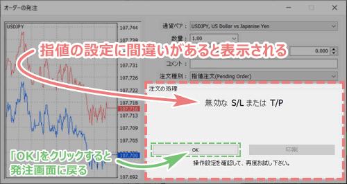 MT4で指値/逆指値注文できない場合の画面
