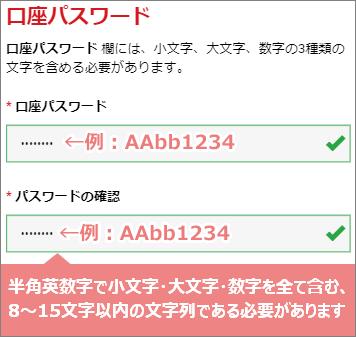 デモ口座のパスワードを入力するスマホ画面