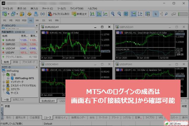 MT5へのログインの成否は画面右下の接続状況から確認