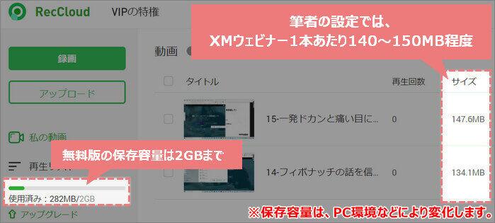 XMウェビナーは、筆者の場合140~150MB程度