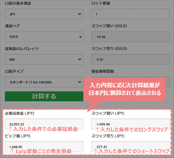 入力内容での計算結果が日本円で表示