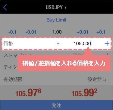 指値/逆指値の価格を入力