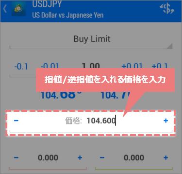 指値/逆指値の指定価格を入力