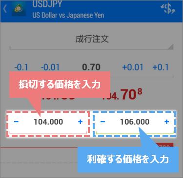 MT4スマホアプリで指値/逆指値価格を入力する場所