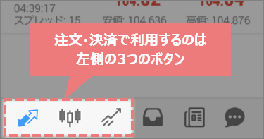 android版MT4スマホアプリで注文・決済に利用するボタン