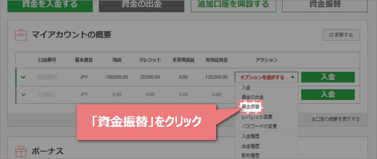 XMTrading会員ページの資金振替ボタン