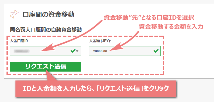 資金移動先の口座IDと入金額を入力したPC画面